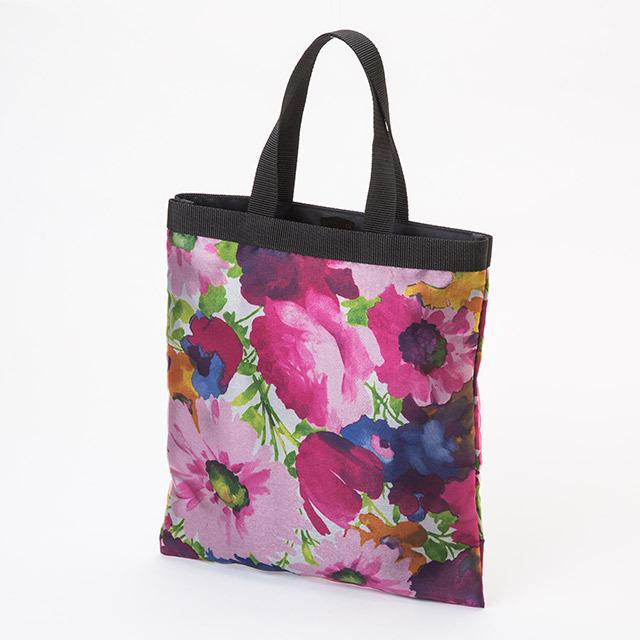 エコトートショッピングバッグ(小)(グレー地/花柄)の画像