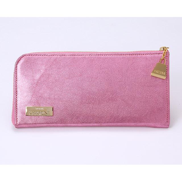 ゴードエナメルL型ファスナー束入れ(ピンク)の画像
