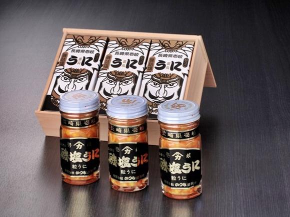 磯塩うに 70g×3本 木箱詰合せ  お中元やお歳暮の贈答好適品(ギフトセット) 壱岐 かつみのうにの画像