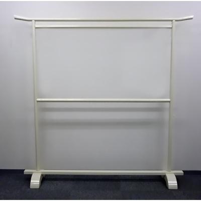 木製 二段丸衣桁そり付 白塗の画像
