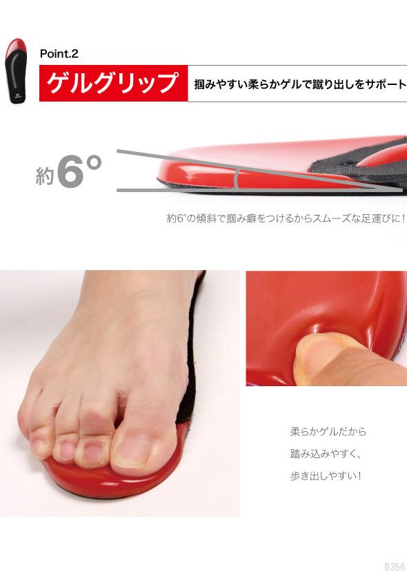 Point2.ゲルクリップ 掴みやすい柔らかゲルで蹴り出しをサポート 約6度の傾斜で掴み癖をつけるからスムーズな足運びに! 柔らかゲルだから踏み込みやすく、歩き出しやすい!