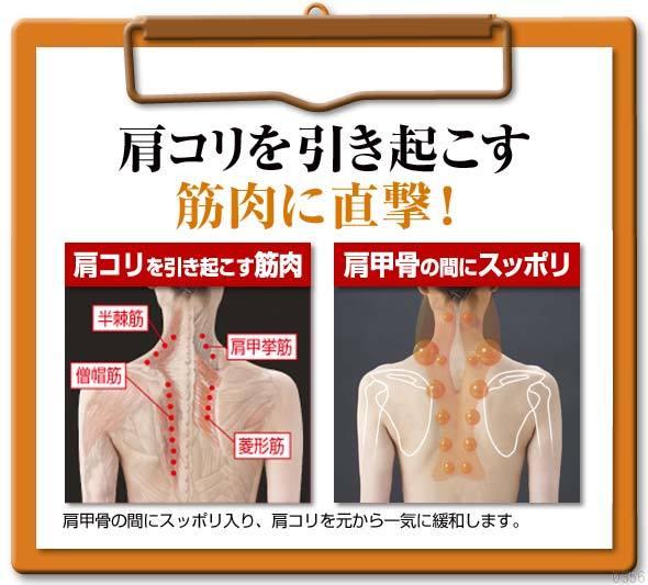 肩甲骨の間にスッポリ入り、肩コリを元から一気に緩和します