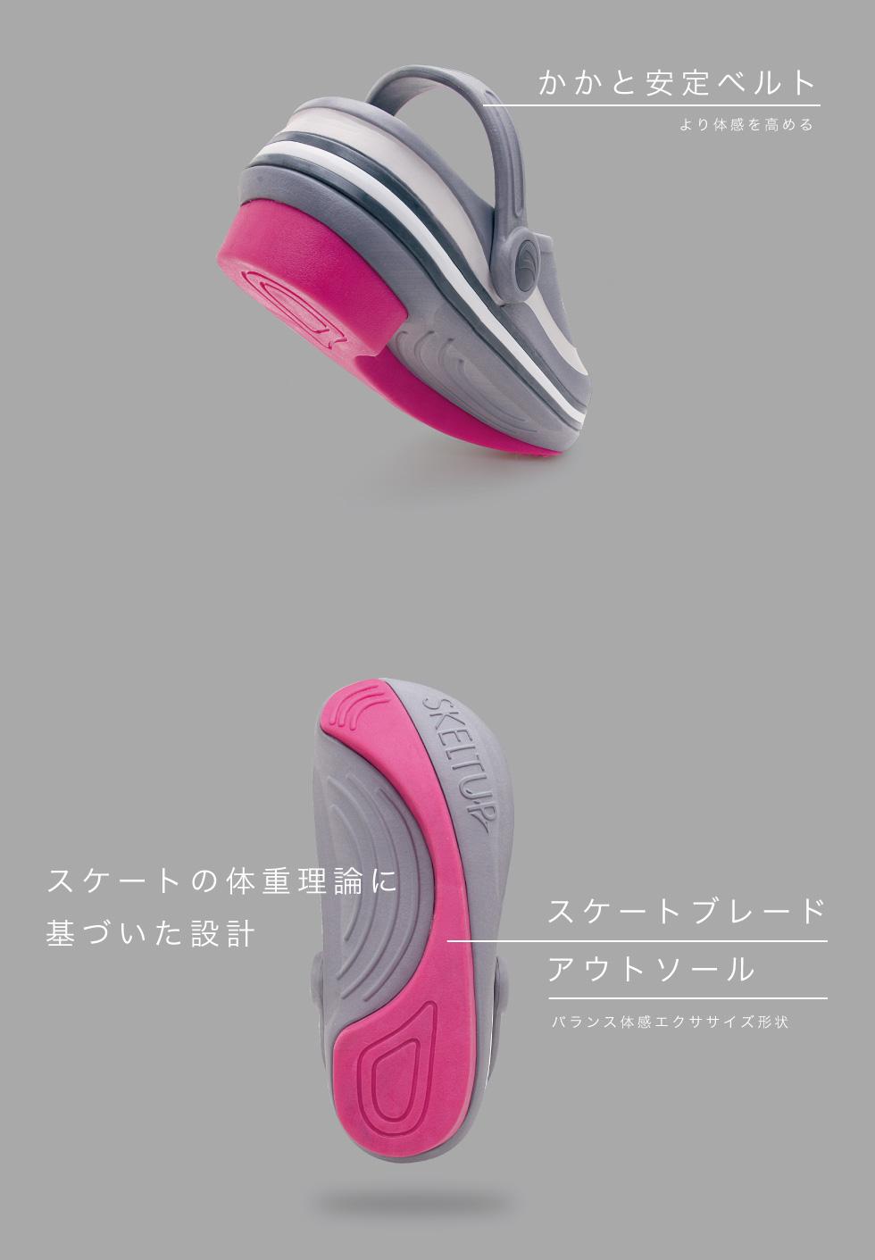 かかと安定ベルト より体幹を高める スケートの体重理論に基づいた設計「スケートブレードアウトソール」バランス体幹エクササイズ形状