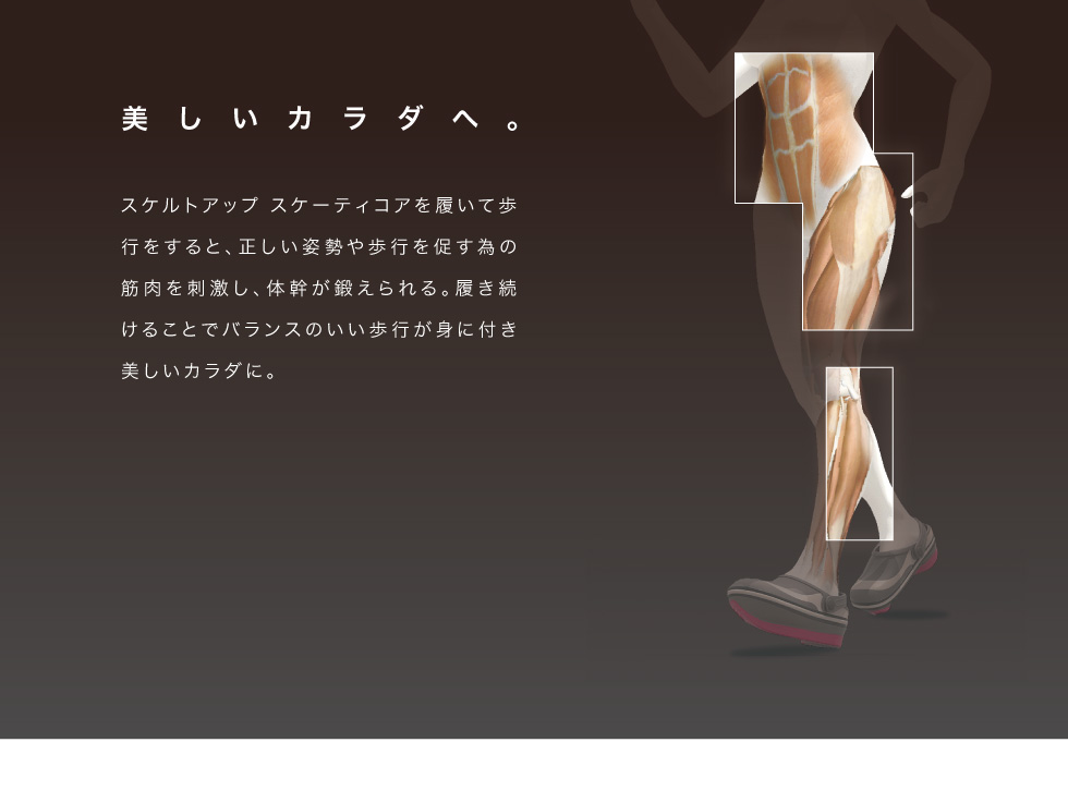 美しいカラダへ。スケルトアップスケーティコアを履いて歩行をすると、正しい姿勢や歩行を促すための筋肉を刺激し、体幹が鍛えられる。履き続けることでバランスのいい歩行が身に付き美しいカラダに。