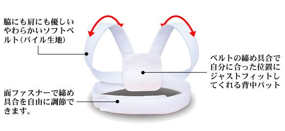 やわらかいソフトベルトで肩にも脇にも優しくフィットし面ファスナーで自由に調節できます