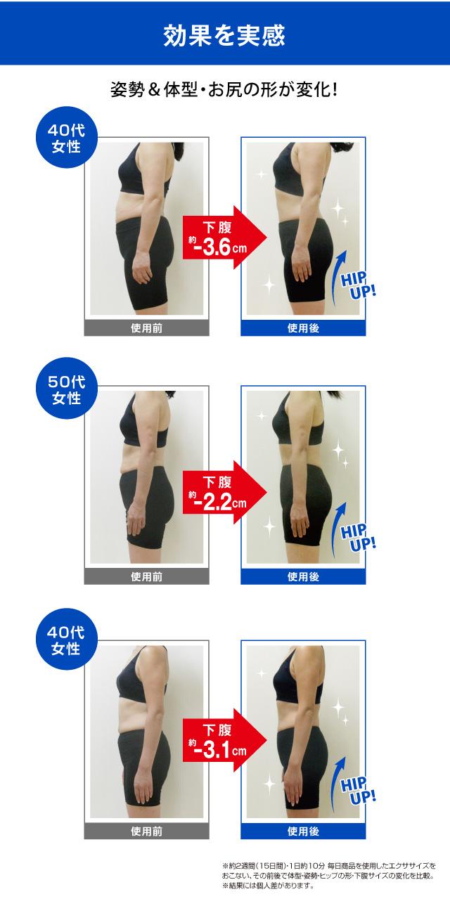 姿勢&体型・おしりの形が変化!効果を実感