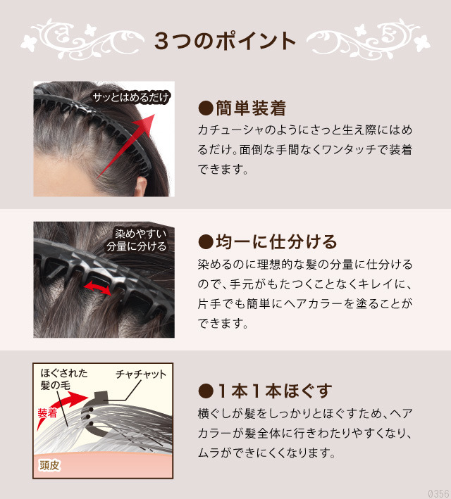簡単装着、染めやすい分量に髪を分ける、1本1本をほぐすのでムラになりにくい