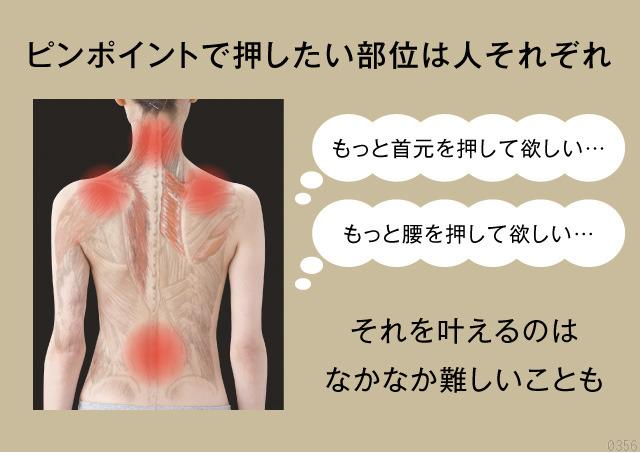 首、肩、背中、腰、ピンポイントで押したい部位は人それぞれ