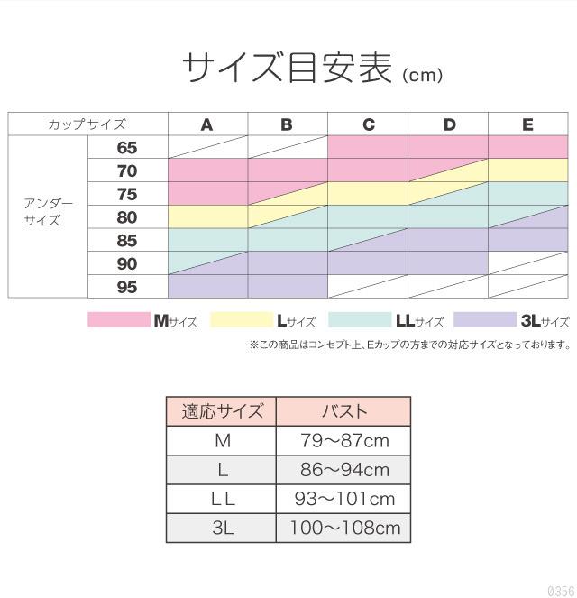 サイズ表、カップサイズ、アンダーサイズ、M、L、LL、3L