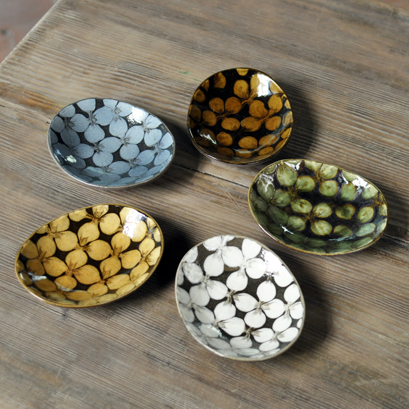 スリップウェア花柄小判皿5枚セット画像
