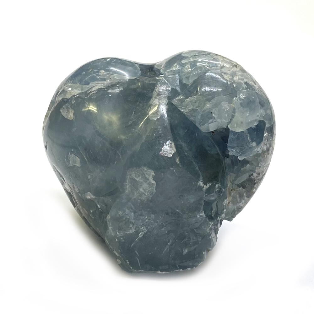天然石  セレスタイト 天青石 ハート形 原石 クラスター (210) 鉱物 鉱石 標本 置物 画像