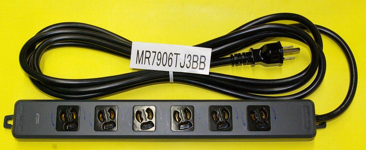 黒い電源タップ6口3mコード付画像
