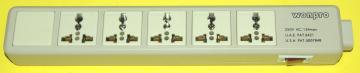 海外用電源ユニバーサルコンセント5個口タップの画像