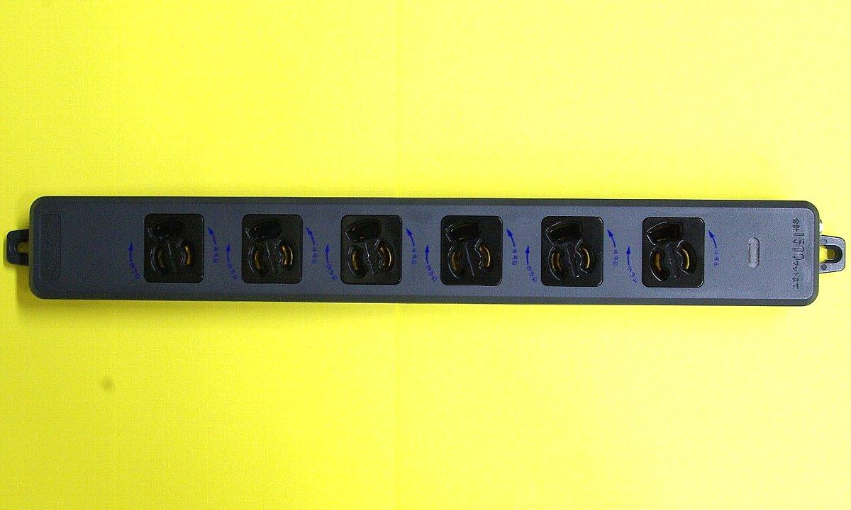 抜け止め6個口接地タップの黒色画像
