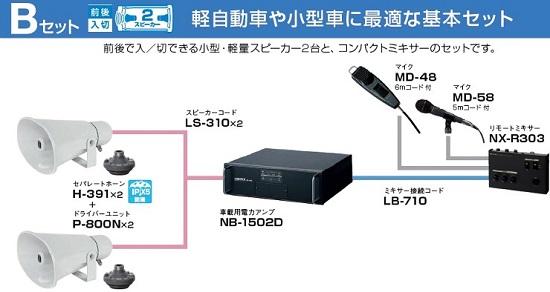 選挙用車載拡声器150Wシステム小型車用2スピーカーセット画像