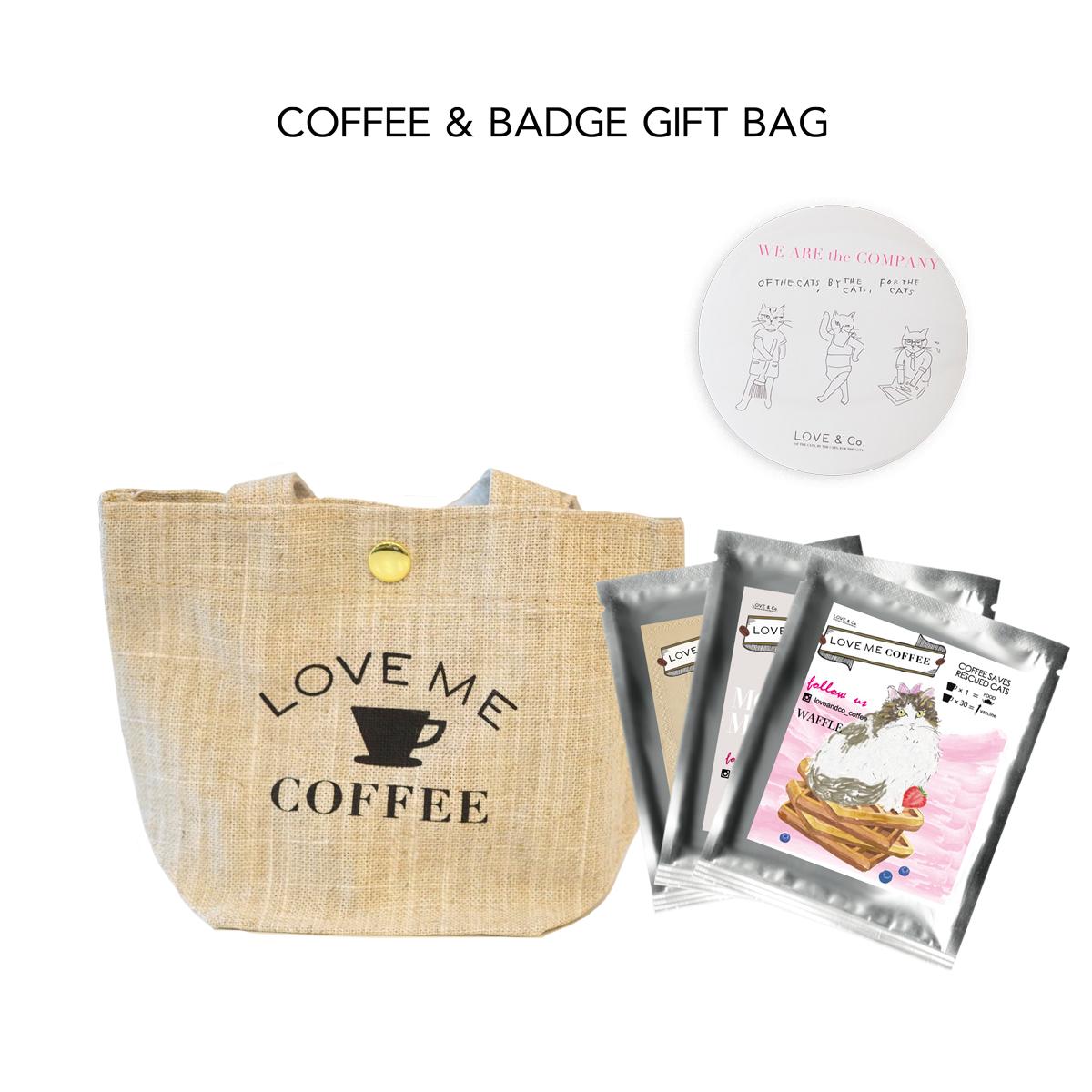 LOVE ME COFFEE & BADGE GIFT BAG 画像