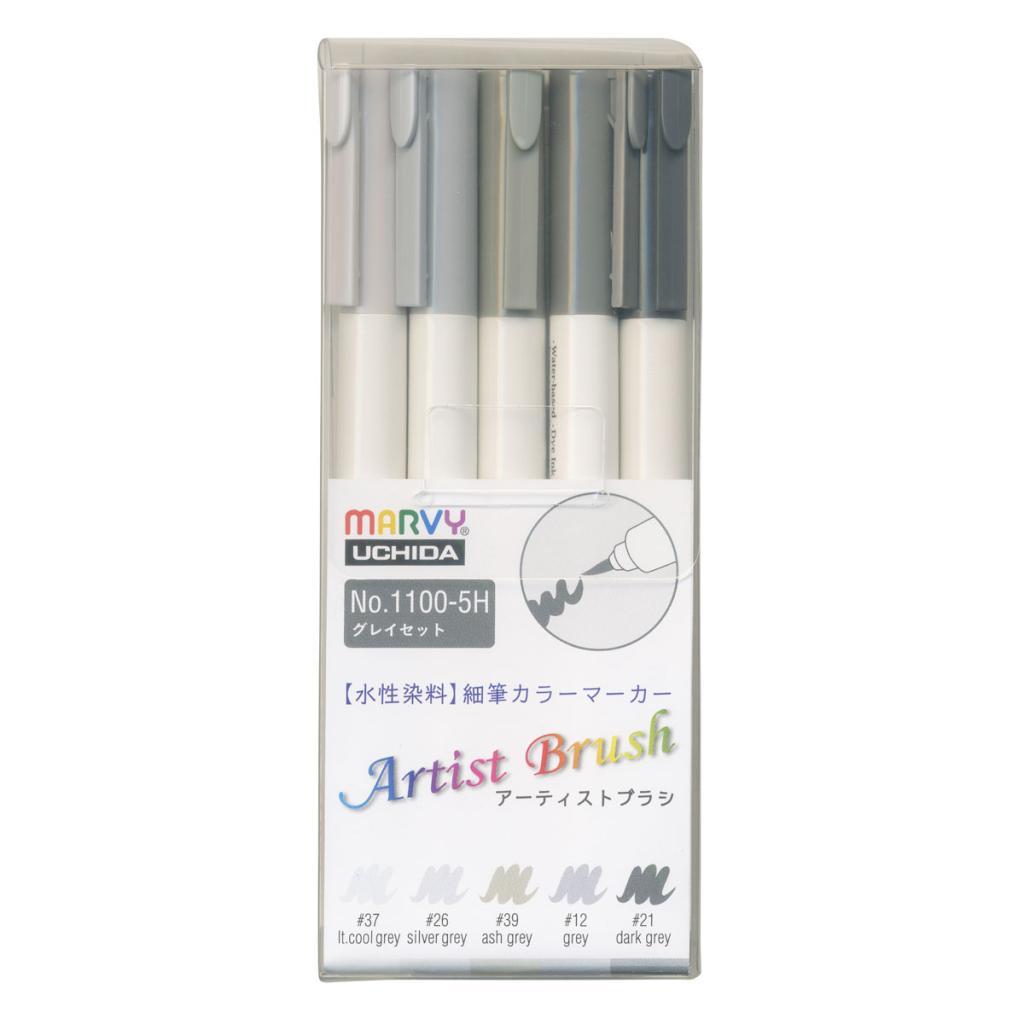 アーティストブラシ 5色グレイセットの画像