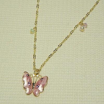 桜色バタフライネックレスの画像