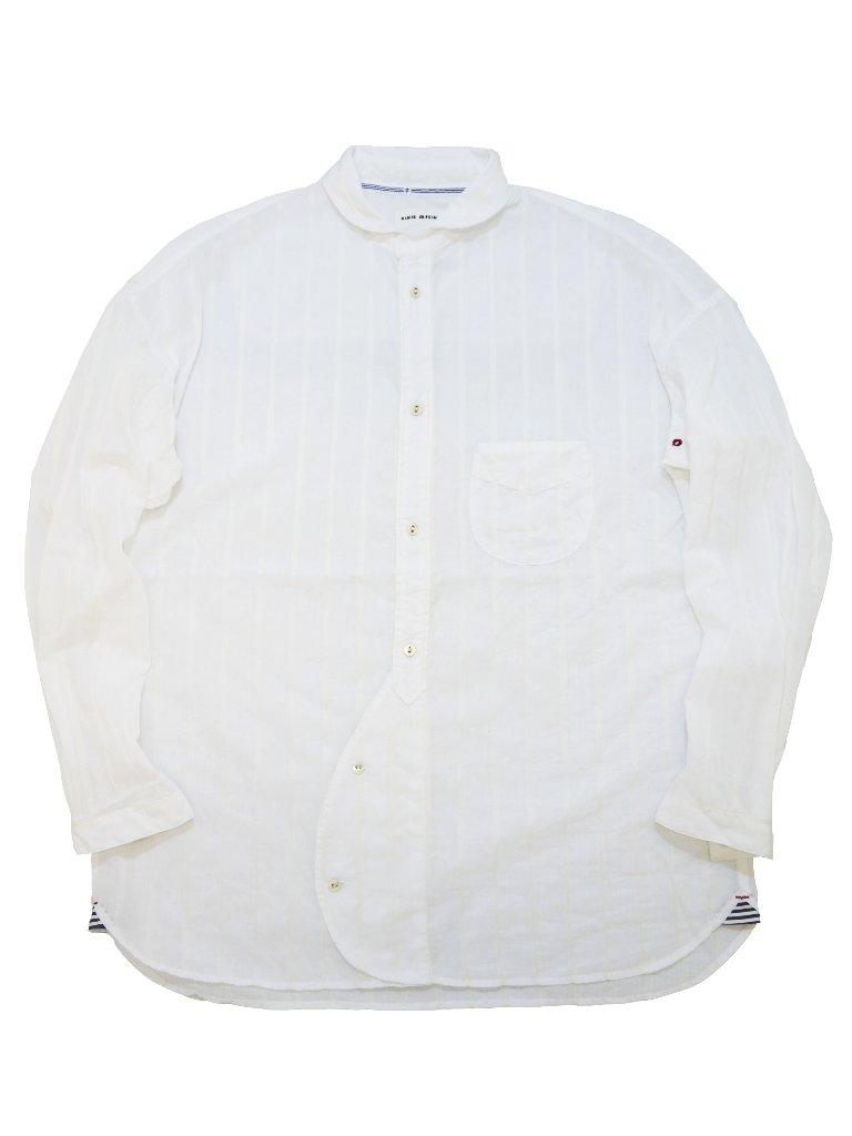 ローンドビーストライプドロップショルダーラウンドカラーシャツ(MADE IN JAPAN)の画像
