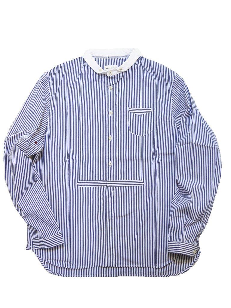 ポプリン先染めストライプショートラウンドカラーシャツ(MADE IN JAPAN)の画像