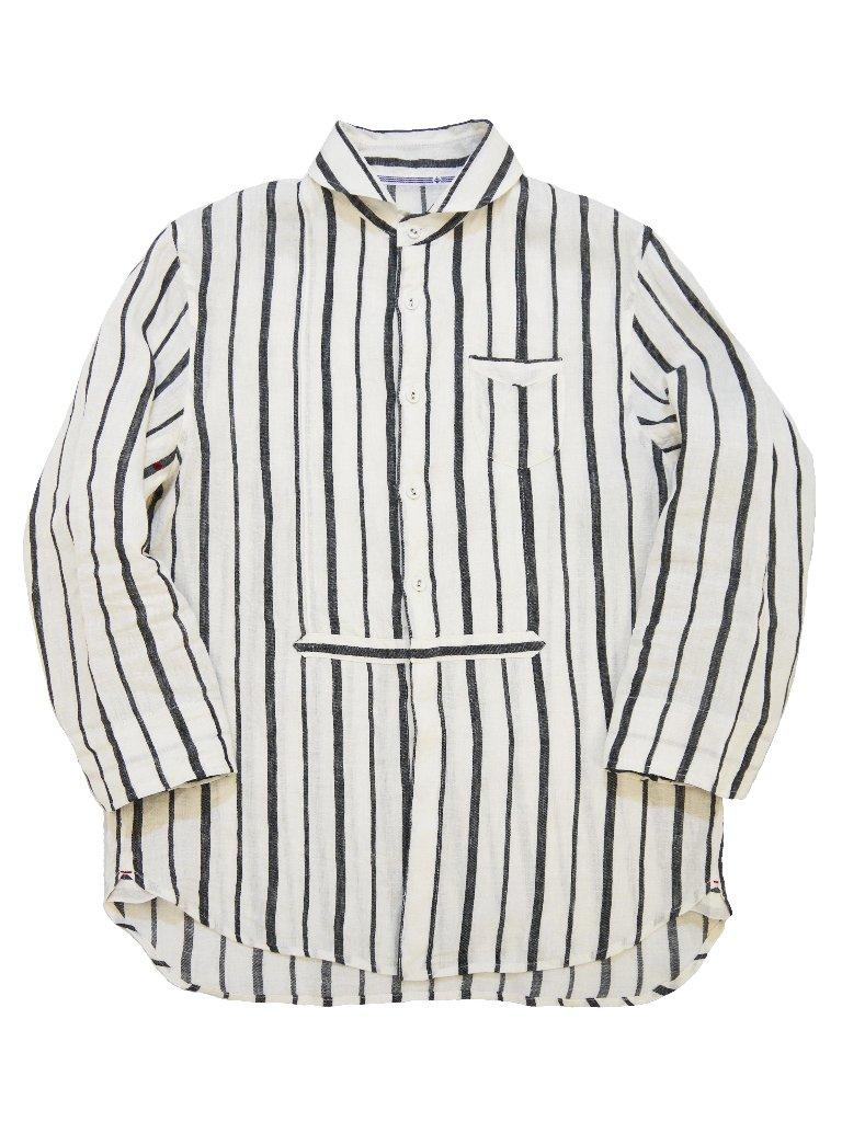 リネンストライプ7分袖ラウンドカラーシャツ(MADE IN JAPAN)の画像