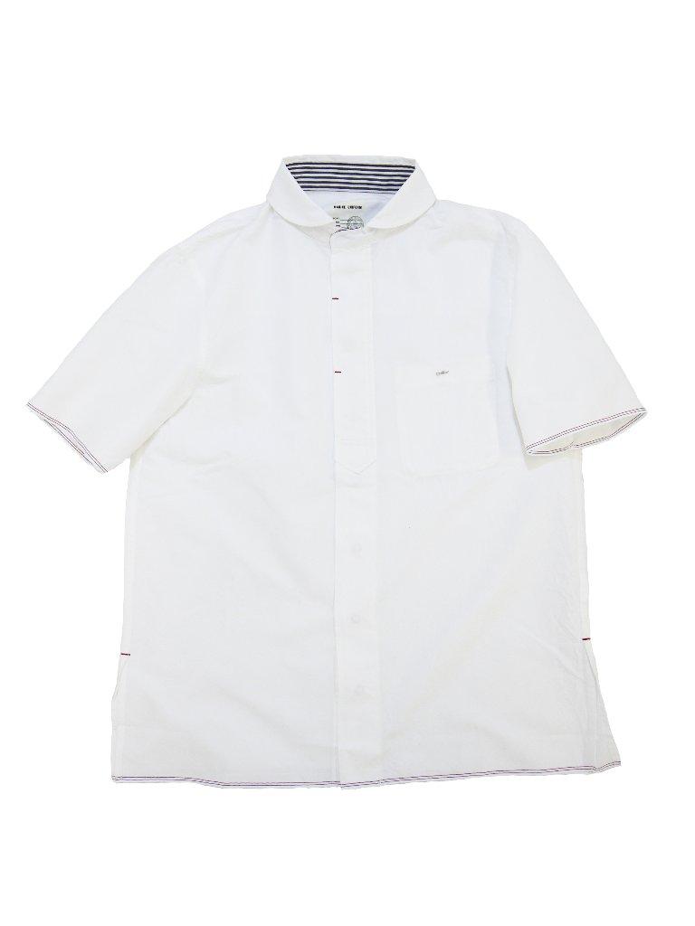 トリコロールセルビッチオックスラウンドカラーショートスリーブシャツ(MADE IN JAPAN)の画像
