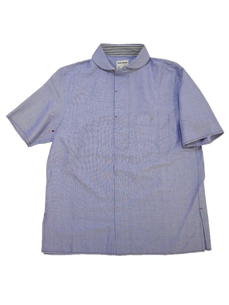 トリコロールセルビッチオックスラウンドカラーショートスリーブシャツの画像