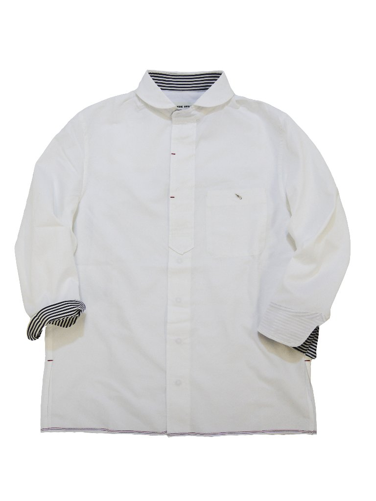 トリコロールセルビッチオックスラウンドカラー7分袖シャツの画像
