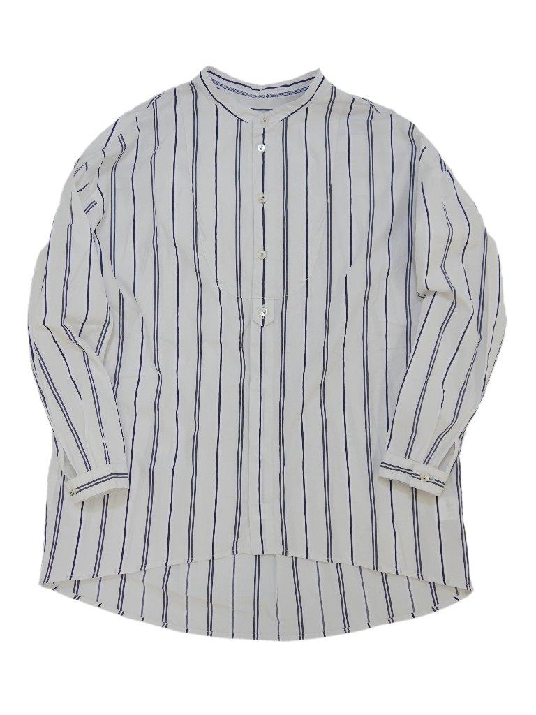 先染めストライプススタンドカラーモックシャツの画像