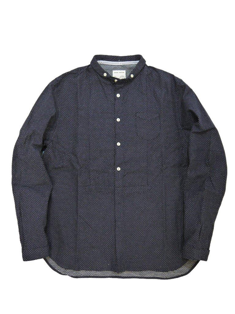 インディゴ刺し子ドットショートラウンドカラーシャツ(MADE IN JAPAN)の画像