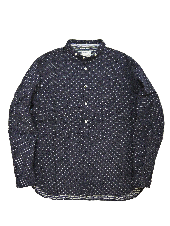 インディゴ刺し子ドットショートラウンドカラーシャツ(MADE IN JAPAN)画像