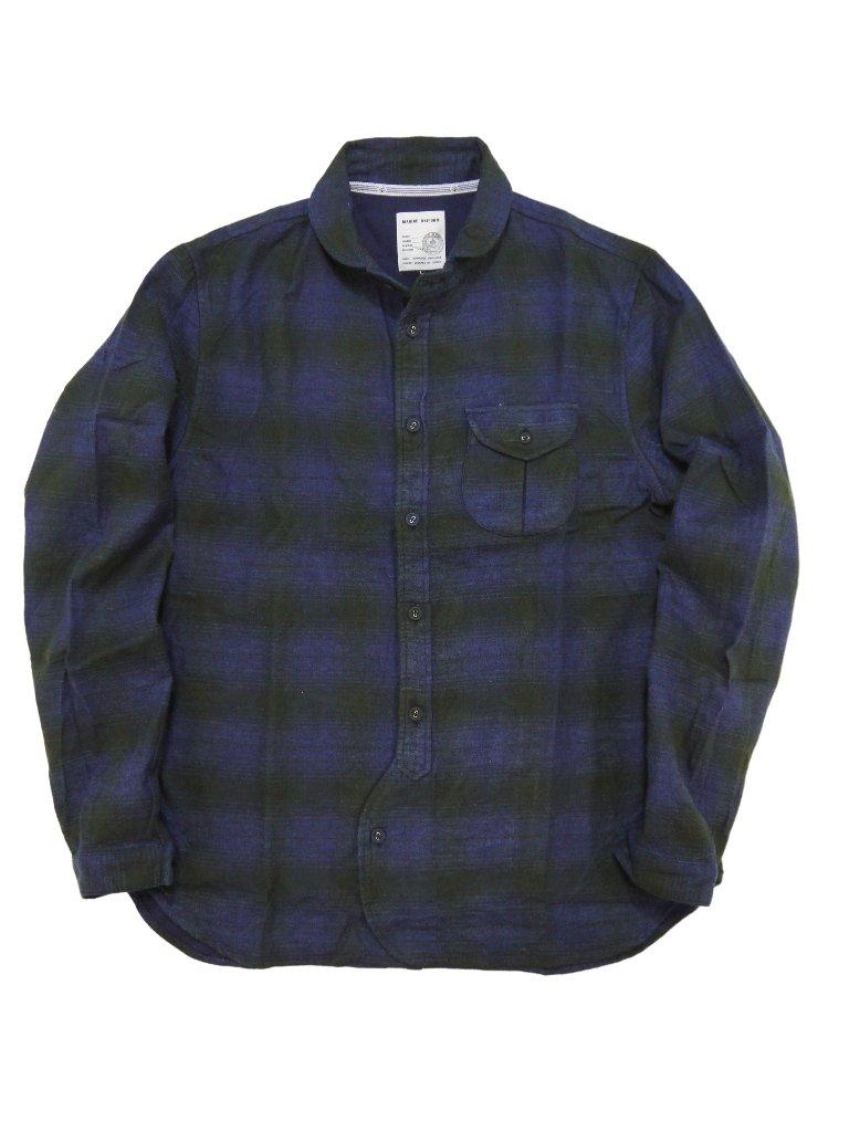 インディゴ起毛チェックラウンドカラーCPOシャツの画像