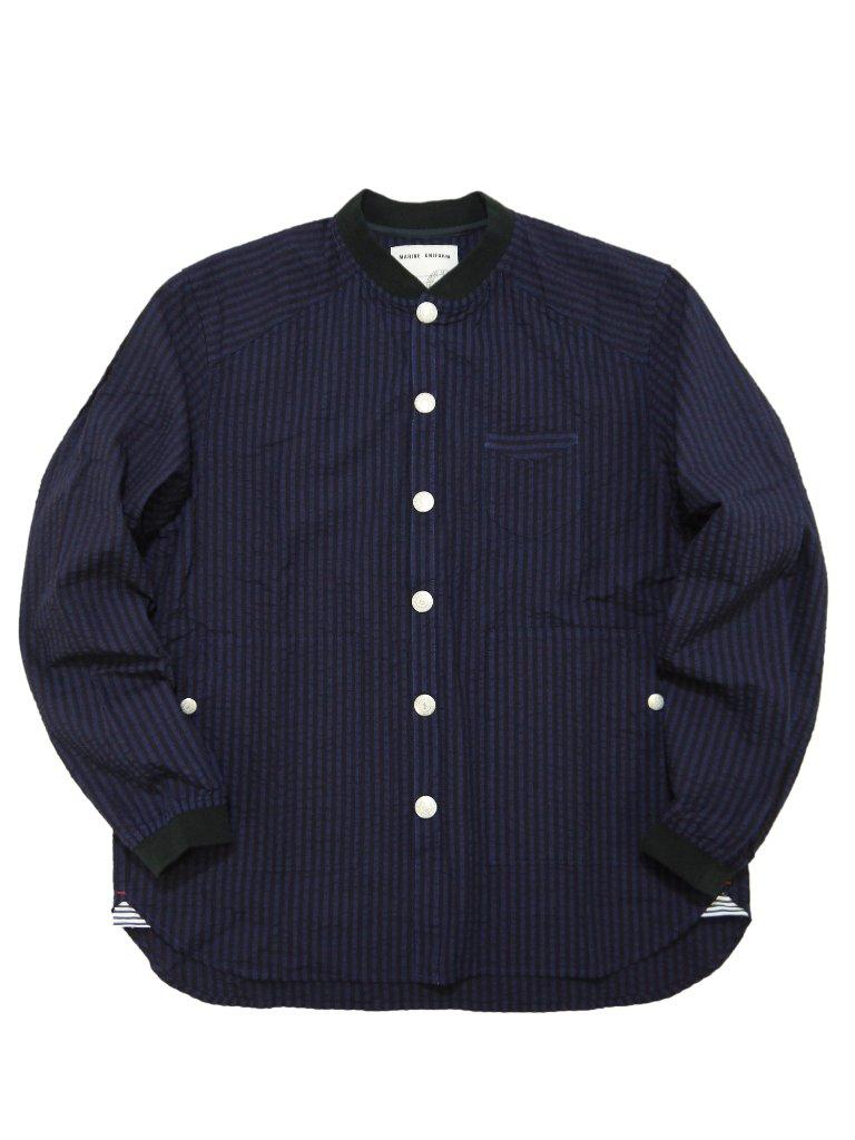 インディゴサッカーストライプ衿リブジャケットの画像