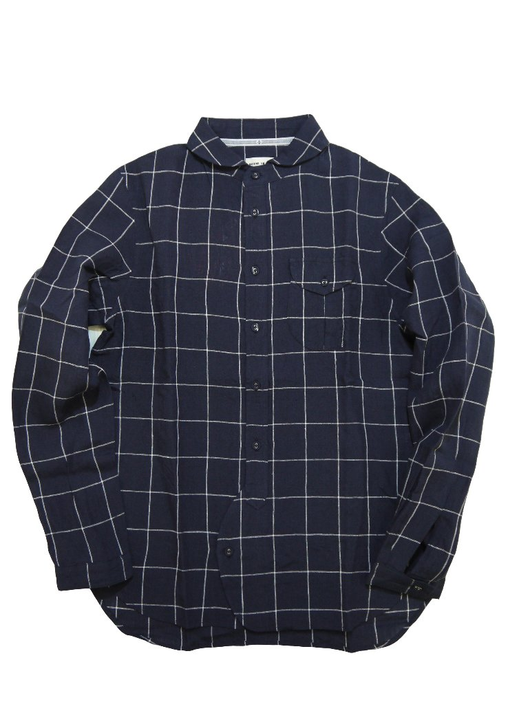 リネン先染めウインドペーンラウンドカラーシャツの画像
