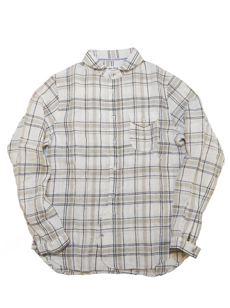 リネン先染めチェックラウンドカラーシャツの画像