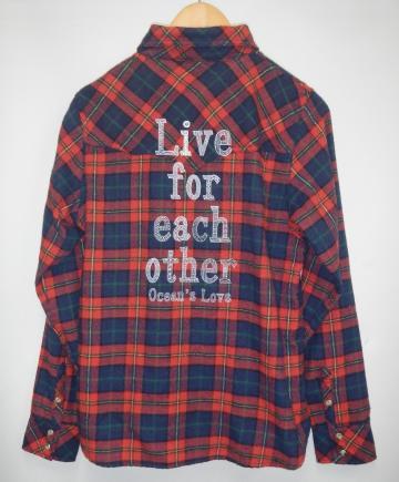 【レディース】Love each otherネルシャツ レッド画像