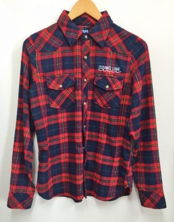 【レディース】ワンポイントネルシャツ レッドの画像