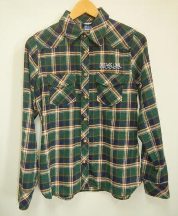 【レディース】ワンポイントネルシャツ グリーンの画像