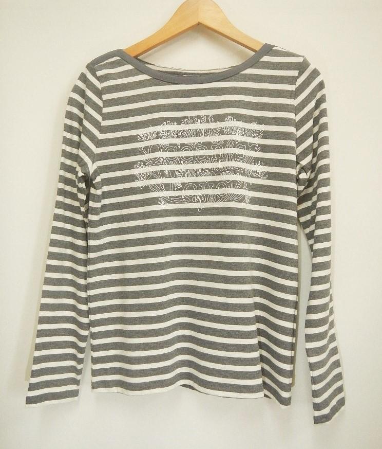 【レディース】サンゴ柄ボーダー長袖Tシャツ グレー画像