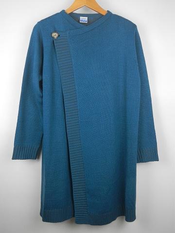 【レディース】二重臼編みカーディガン ブルーの画像