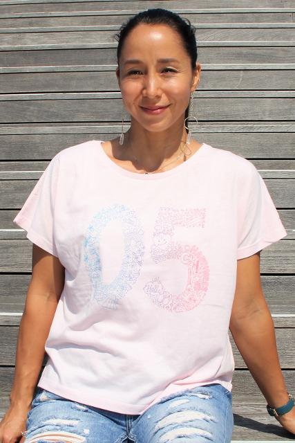 【レディース】05グラデ レディースドルマンTシャツ ピンクの画像