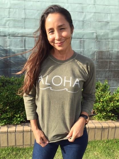 【レディース】アロハ ピグメントダイベースボールTシャツ セージ画像