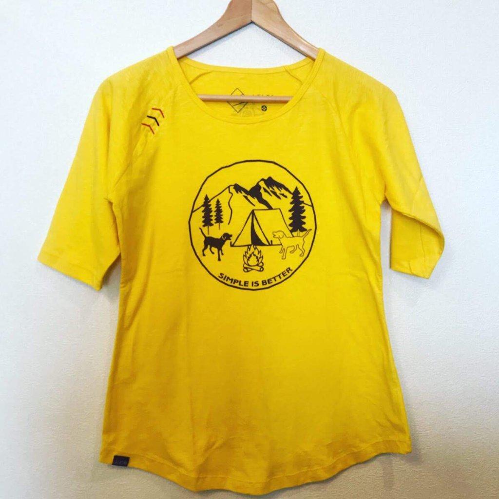 ラグランTシャツ わんことキャンプ イエローの画像