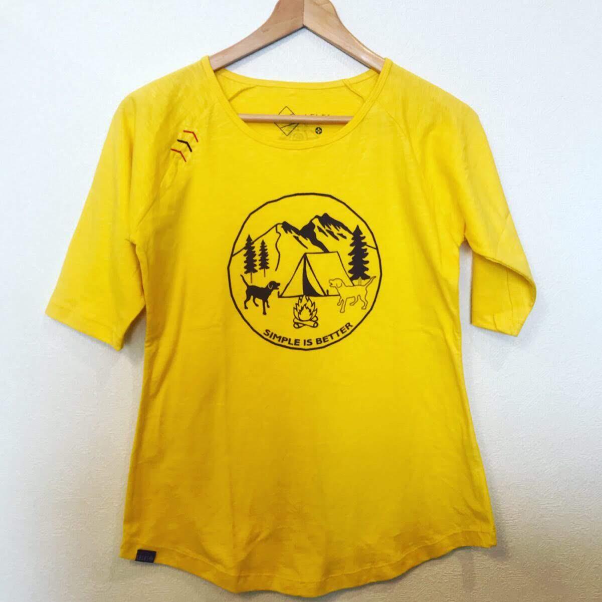 ラグランTシャツ わんことキャンプ イエロー画像