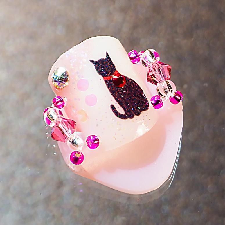 メクリナアート 座り猫ピンクの画像
