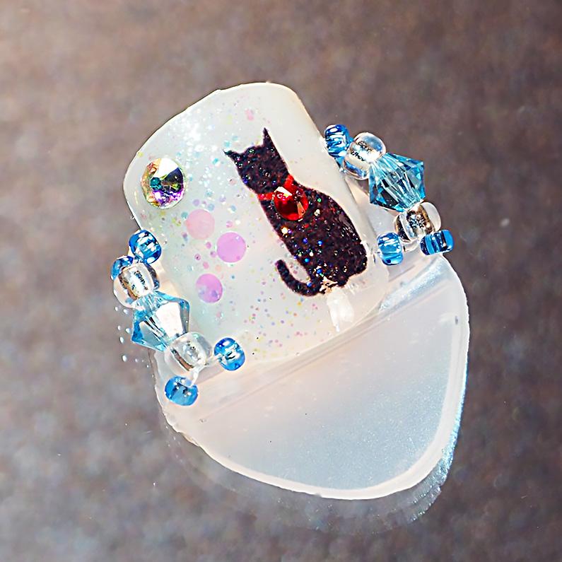 メクリナアート 座り猫ブルー画像