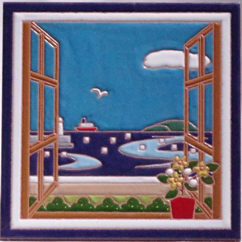 絵タイル「晴れた海」150×150mmの画像