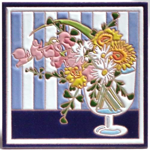絵タイル「春の花」150×150mmの画像