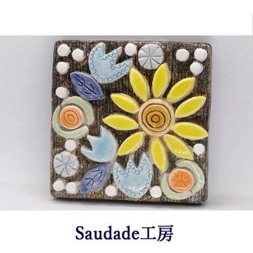陶板「花2」120×120mmの画像