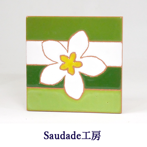 絵タイル「ブルメリア緑」75×75mm画像